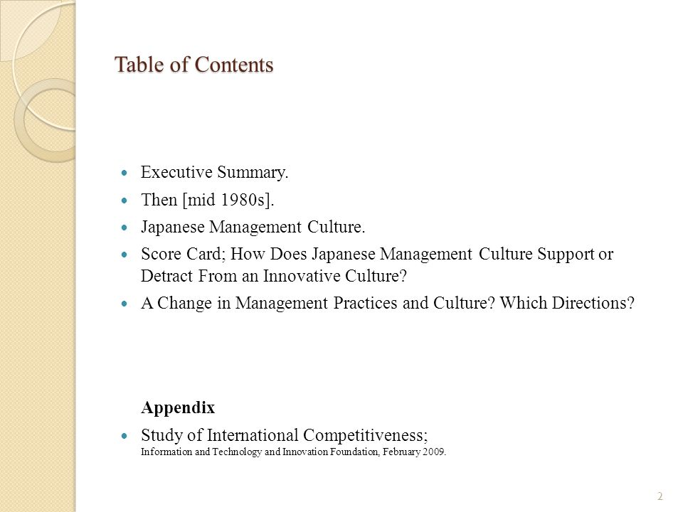 Table of Contents Appendix Executive Summary. Then [mid 1980s].